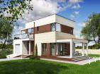 Двухэтажный дом с гаражом и террасами